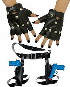TWIN THIGH GUNS AND HOLSTER STUDDED GLOVES LARA FANCY DRESS COSTUME ACCESSORY