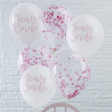 15 x TEAM BRIDE HEN PARTY BALLOON PACK - 10 White / 5 Pink Confetti Balloons 12""