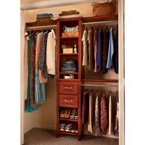 ClosetMaid Wood Closet System 48 in. W - 108 in. W, 8 shelves Dark-Cherry