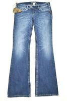 NEW Silver 30 x 35 Tuesday Low Rise Boot Cut Medium Wash Stitching Denim Jeans