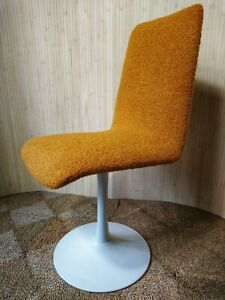 Fab Vintage Retro White Metal Tulip Style Swivel Dining Chair Seat Yellow Boucle