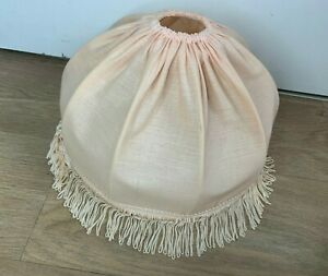 Vintage Fringed Tassle Scalloped Dome Lampshade- Light Pink- Metal Connector