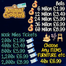 Nook Miles Tickets 200/400+   Millions Bells   6/12/24+   NMTs   New Horizons