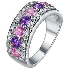 Neue Schöne Damen Ring mit Mehrfarbig Zirkonen Gestempelt 925 Gr. 58
