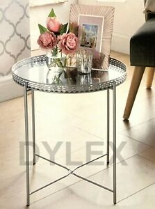 Silver Tray Table With Mirrored Glass Top Coffee Table With Removable Tray Top