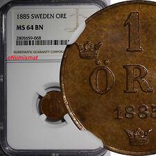Sweden Oscar Ii (1872-1907) Bronze 1885 1 Ore Ngc Ms64 Bn Km# 750