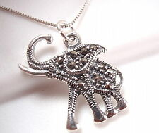 Elephant Marcasite Pendant 925 Sterling Silver Corona Sun Jewelry