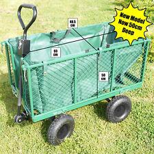 XL Garden Cart Truck Trolley 4 Wheel Wheelbarrow Trailer Heavy Duty 544kgs