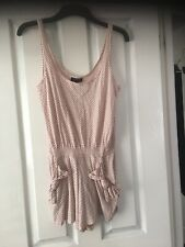 Topshop All In One Pink Black Spots Sleeveless Short Suit Play Suit Size 10