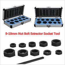 "Car 11pcs 9-19mm Damaged Nut Bolt Remover Stud Extractor Lock 3/8"" Drive Sockets"