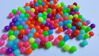 50 x Acrylic Beads - Round - Fluorescent - 8mm - Mixed Colour