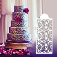 Baking Tool Side Decor Mould Damask Lace Flower Border Fondant Cake Stencil AU