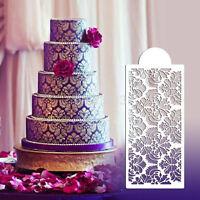 Baking Tool Side Decor Mould Damask Lace Flower Border Fondant Cake Stencil AU