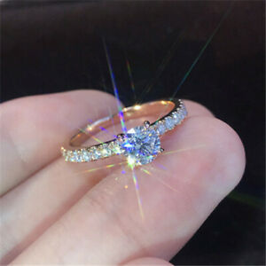 Sparkling Rose Gold Diamond Ring Engagement Bride Wedding Ring Jewelry Size 9