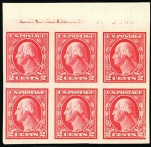 409, Mint NH XF 2¢ Top Imprint & A Plate Block of Six - Stuart Katz