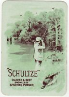 Playing Cards 1 Swap Card - Antique Wide Advertising SCHULTZE Game Bird SHOOTING