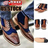 Men Leather Shoes Lace-up Formal Dress Business Party Casual Chelsea Ankle Boots
