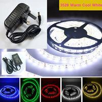 Warm Cool White 3528 5M 300 600 Leds SMD 12V LED Flexible Strip Light Tape Roll
