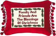 "Pillows - ""Family And Friends"" Pillow - Petit-Point Christmas Pillow"
