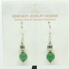 Sterling Silver Natural UVAROVITE GARNET (Green) Dangle Earrings...Handmade USA