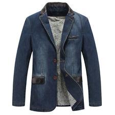 Мужские повседневные блейзер лоскутные куртка 100% хлопок однобортный костюмы куртка