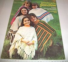 VINTAGE CROCHET PATTERN LEAFLET COLUMBIA-MINERVA 1973 GROWIN' UP IN PONCHOS 2571