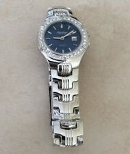 RAWLINGS SILVER WOMEN'S WATCH CRYSTAL ROUND BLUE DATE DIAL DESIGNER STYLE NEW!
