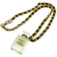 Authentic CHANEL Vintage CC Logos Gold Chain Perfume Pendant Necklace T03990