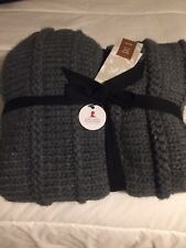 West Elm Chunky Knit & Faux Fur Throw; Gray; NWT