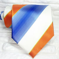 Cravatta Uomo righe 100% seta Made in Italy bianca azzurra arancione