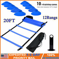 20 ft/12 Rung Fitness Agility & Speed Ladder Training Set with 10pcs Disc Cones
