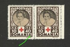 "ROMANIA-MNH PAIR-ERROR, DOT IN ""A"" IN ROMANIA-RED CROSS -Queen Mother Elena-1945"