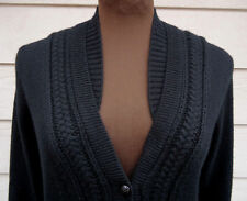 NEW $625 Burberry S Natisone Cashmere Cable-knit Cardigan Black