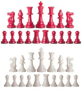 Staunton Triple Weighted Chess Pieces – Full Set 34 Red & White - 4 Queens
