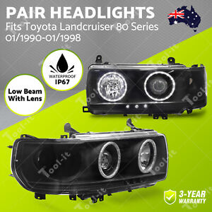 for Toyota Landcruiser 80 Series 1990-1998 Headlights Pair Angle Eye Projector
