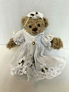 Vintage Ann Inman Looms Gallery Teddy Bear in White Eyelet Ltd Edition #549