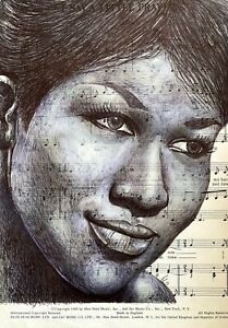 Aretha Franklin Original Pen Drawing Portrait Over Music. Unframed