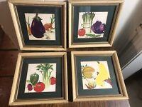 (4) Vintage Kitchen Vegetable Watercolor Prints 7.5 x 7.5  Framed/Matted