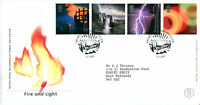 1 FEBRUARY 2000 FIRE AND LIGHT ROYAL MAIL FIRST DAY COVER EDINBURGH SUNBURST
