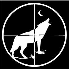 SMALL WHITE Vinyl Decal - Coyote Wolf scope gun howling moon hunt sticker truck