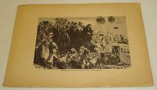 1876 Antique Print/DEPARTURE OF PILGRIMS FROM DELFT HAVEN