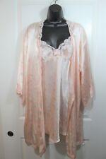 Valentino slip chemise gown kimono robe set pink floral satin large lingerie