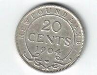 1904H TWENTY CENTS NEWFOUNDLAND KING EDWARD VII CANADIAN STERLING SILVER COIN