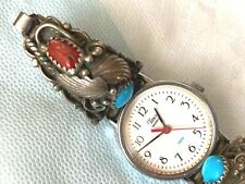 """WATCH WITH STERLING SILVER  RED CORAL & TURQUOISE WATCH BAND SIGNED """"RB"""""""