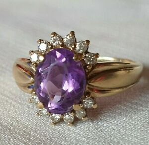Gorgeous 9 carat gold 9ct Gold Amethyst Diamond Halo Ring 3.1g Hmkd Size M