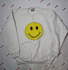 Vintage Smiley Face Sweater Men's Large Gray Hanes