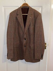 Mens Gieves And Hawkes Suit Jacket Rare 100% Wool Tweed Style 42R Retro AW 2009