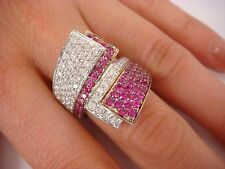 !IMPRESSIVE LARGE 18K WHITE GOLD UNIQUE RUBY AND DIAMOND RING 3 CT T.W. 14 GRAMS
