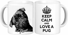 Personnalisé keep calm noir carlin tasse haute qualité 11oz mug grand cadeau d'anniversaire