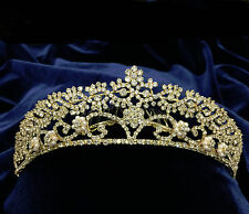 """Crystal Clear Rhinestones Floral Bridal Headpiece With Gold Plated /Comb .1.75"""""""